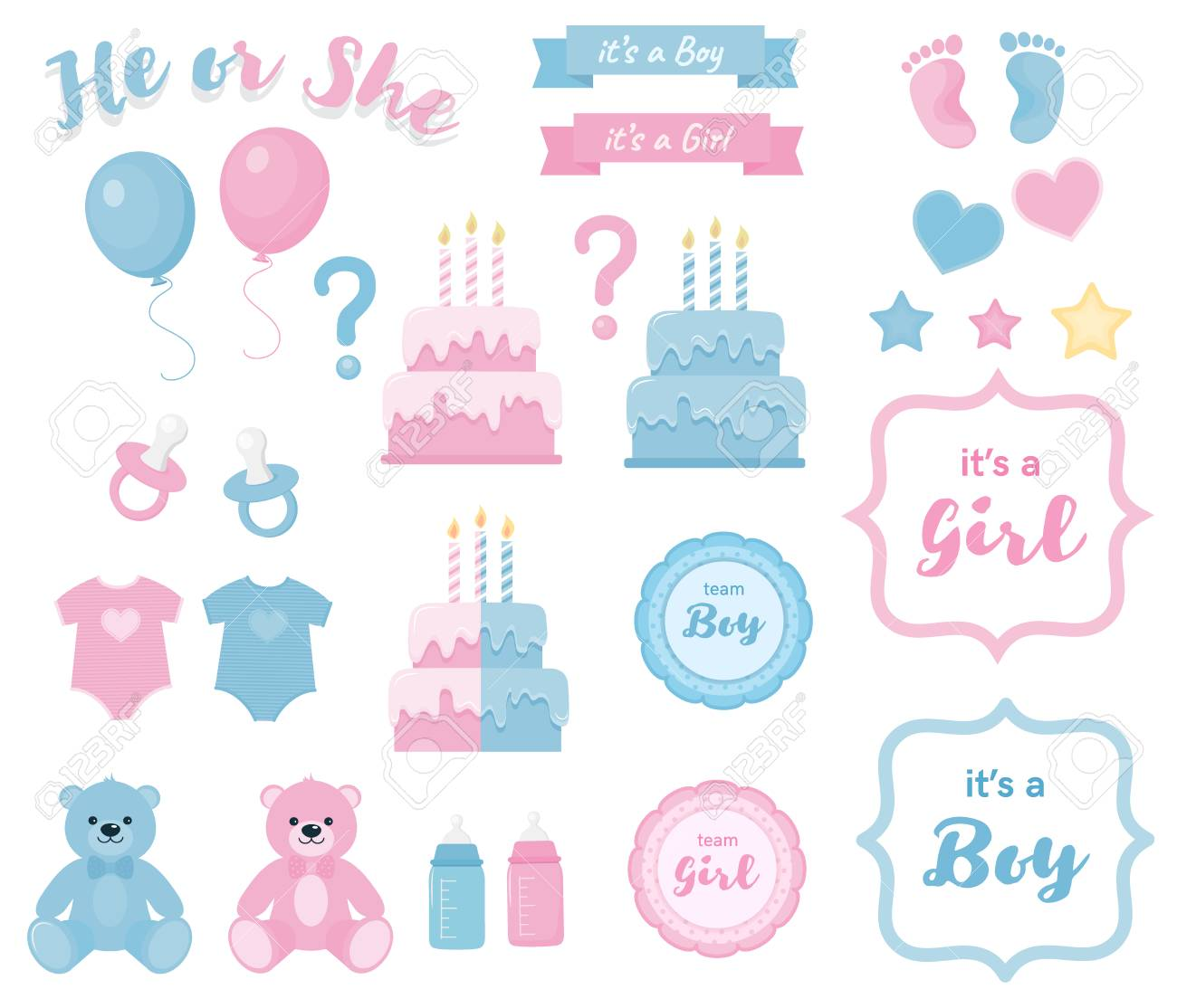Gender reveal clipart with banners and frames.Blue and pink colors.