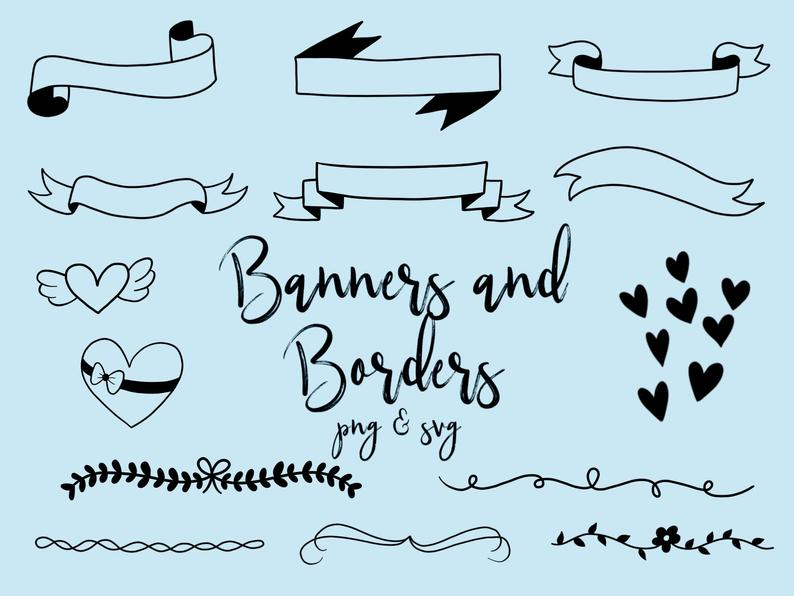 BANNERS and BORDERS CLIPART, clip art, cute, doodles, vector clipart,  clipart, doodle clipart, hand.