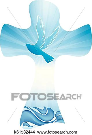 Christian cross baptism symbol with dove and waves of water on blue  background Clipart.
