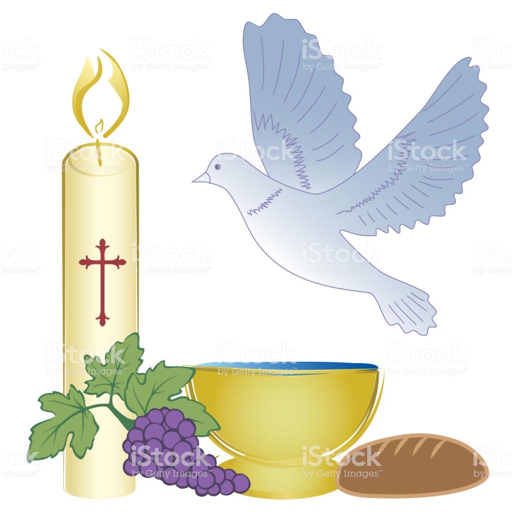 Baptism Holy Sacrament Symbols Invitation Design Stock Illustration.