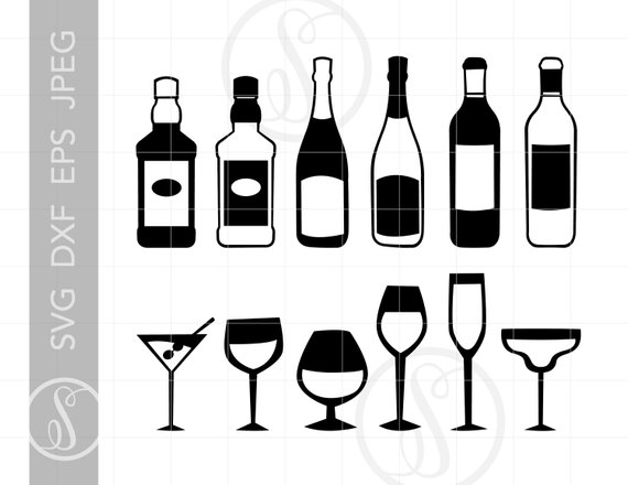 Liquor Bottles and Glasses Svg Cut File Bar Clipart Downloads.