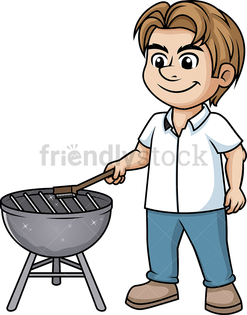 Man Cleaning BBQ Grill.