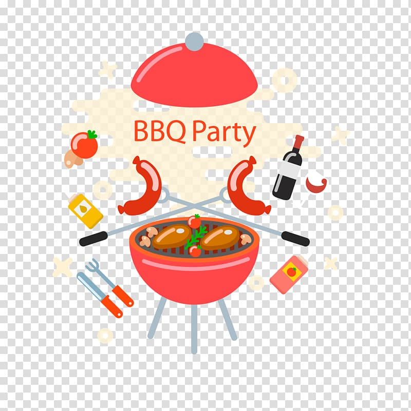 Round red bowl with BBQ party art, Barbecue grill Churrasco Barbecue.