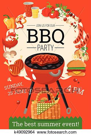 BBQ Barbecue Party Announcement Poster Clipart.