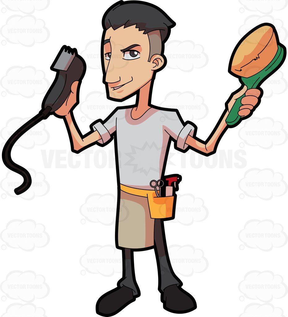 A barber showing off his tools #cartoon #clipart #vector.