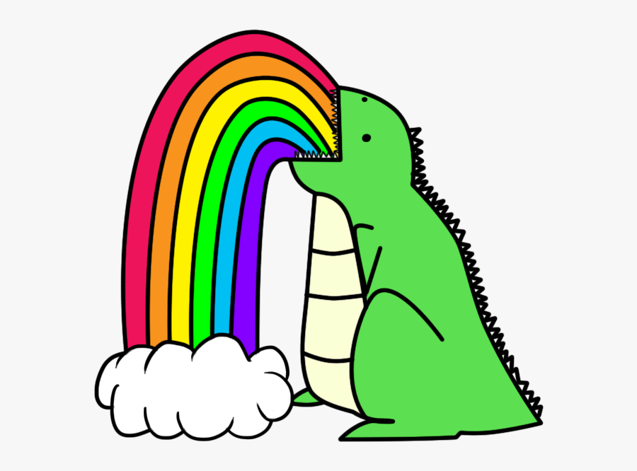 Drawings Of Rainbows Dinosaur Puking Rainbows.