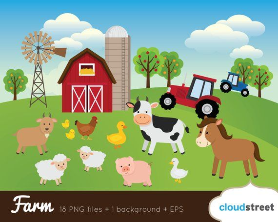 BUY 2 GET 1 FREE Farm Clipart / Farm Animal Clipart / barnyard.