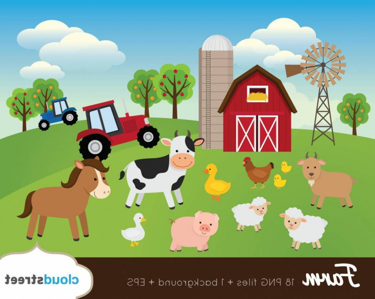 Farm Clip Art Farm Animals Clipart Barnyard Vector.