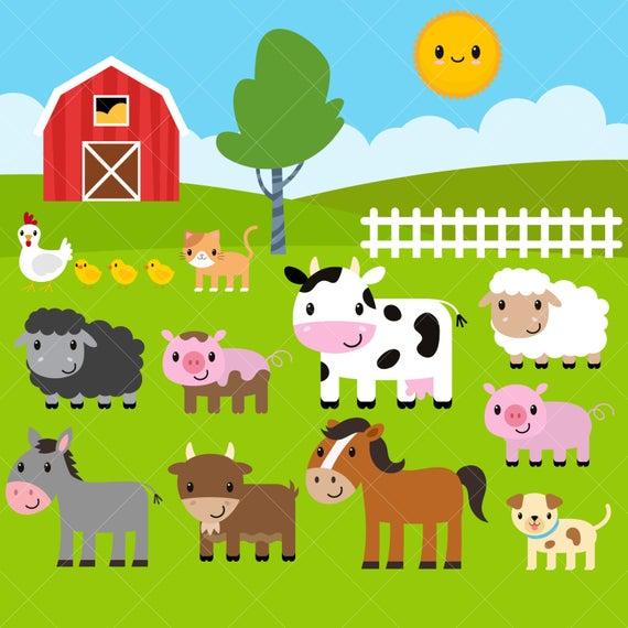 Farm Animals Clipart / Farm Clip Art / Barnyard Animals.