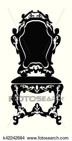 Baroque style chair Clipart.