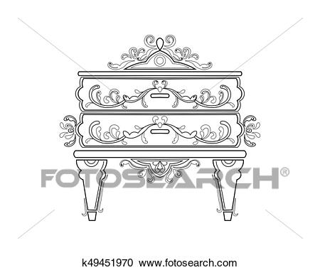 Baroque bedside commode furniture rich set collection. Ornamented  background Vector illustration Clipart.