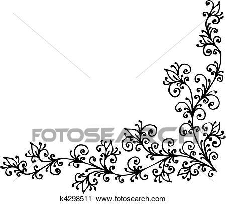 Baroque Pattern vignette Clipart.