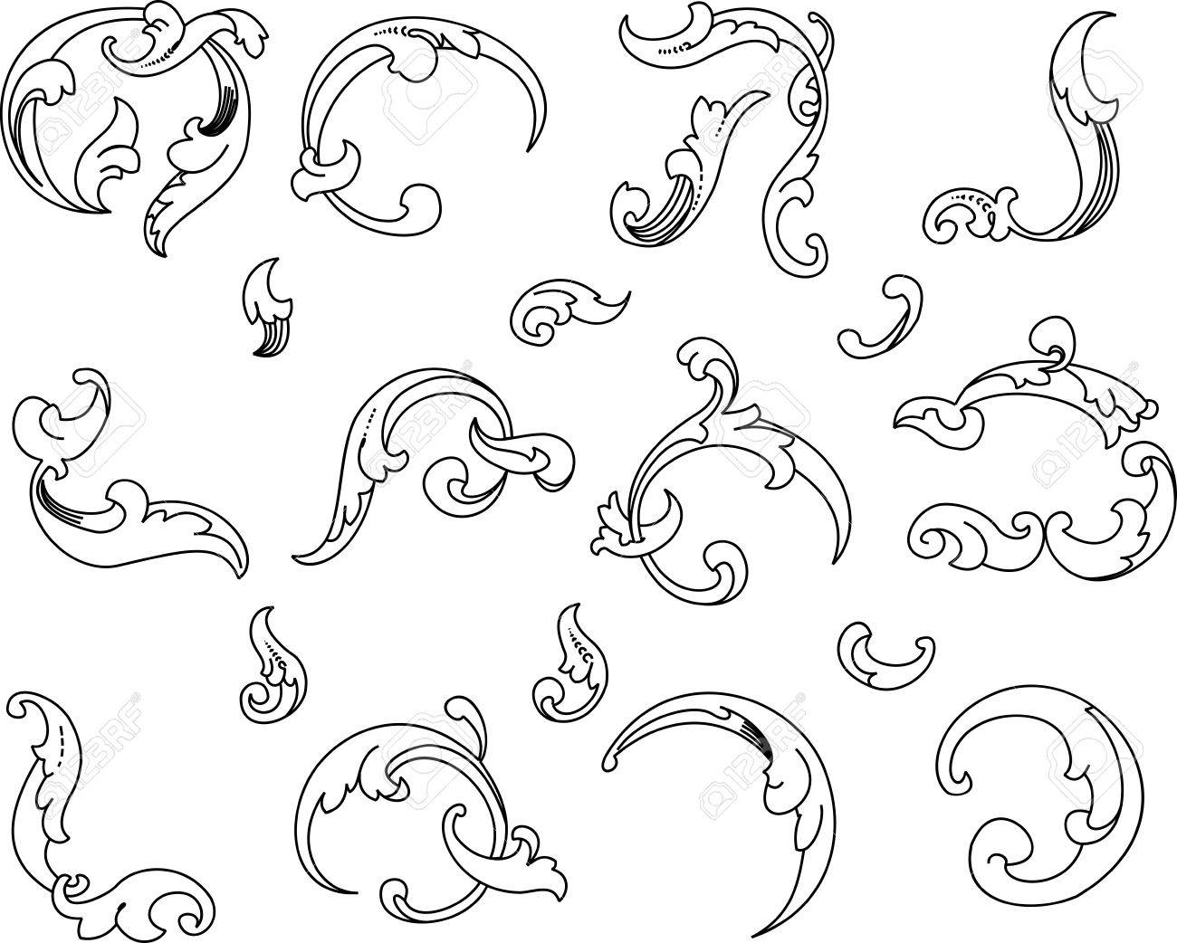 Baroque Clipart. All Curves Separately..