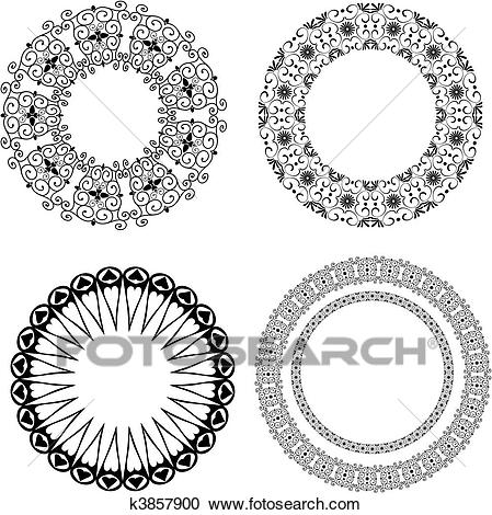 Baroque pattern of round Clipart.