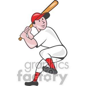 baseball batter batting leg up clipart. Royalty.