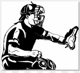 Free download Baseball Catcher Black and white Clip art.