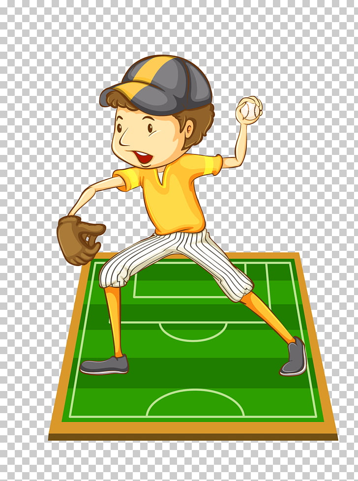 Baseball player Drawing Illustration, cartoon hand painted.