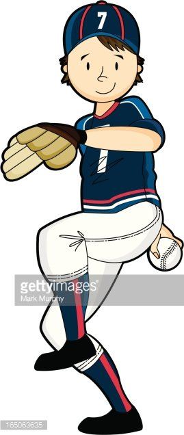 Youth League Baseball Pitcher Clipart Image.