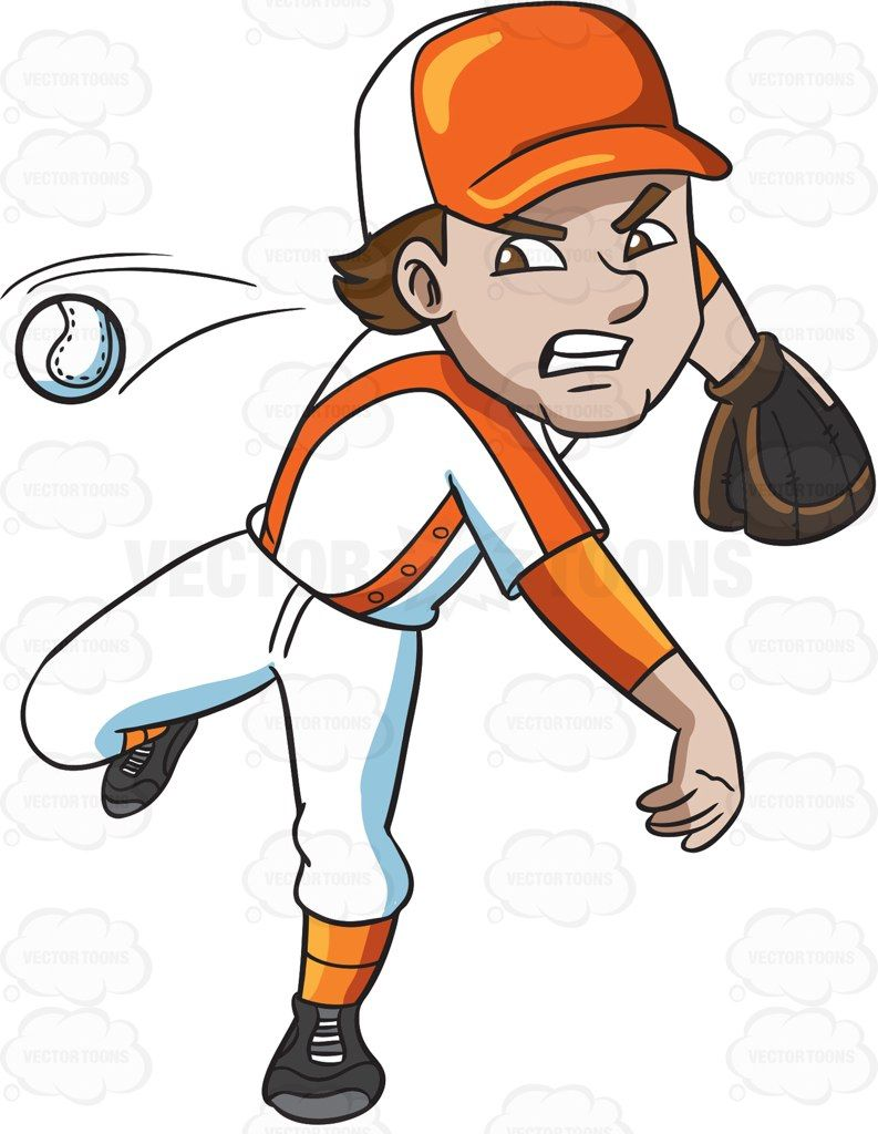 A baseball player pitching a ball #cartoon #clipart #vector.