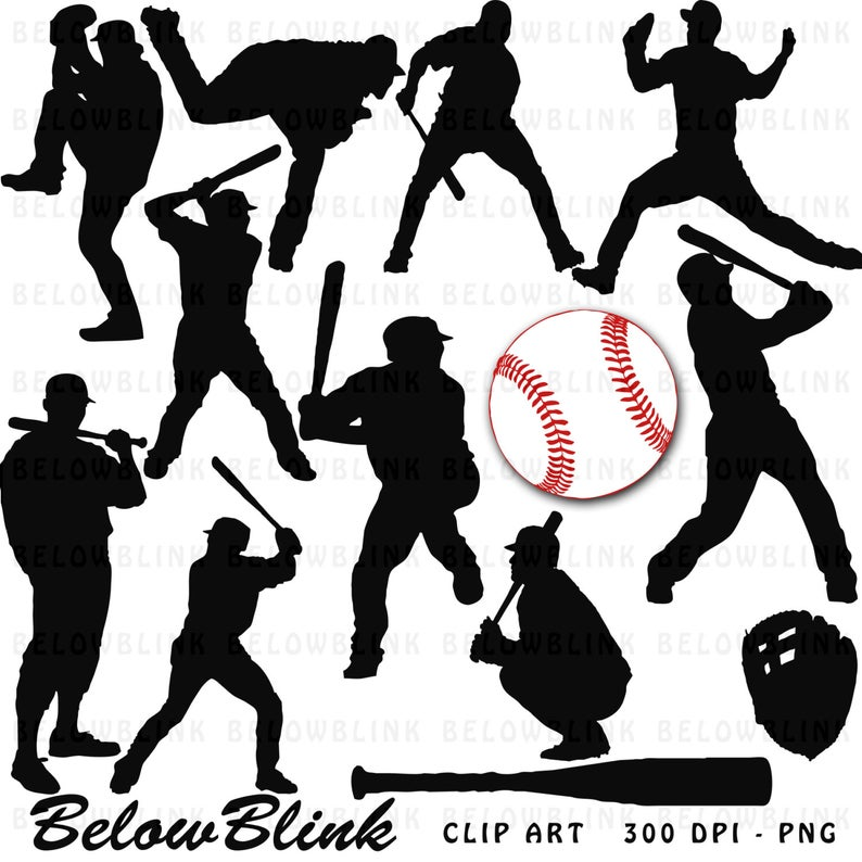 Baseball Players Clipart Clip Art Digital Scrapbooking Commercial Use.