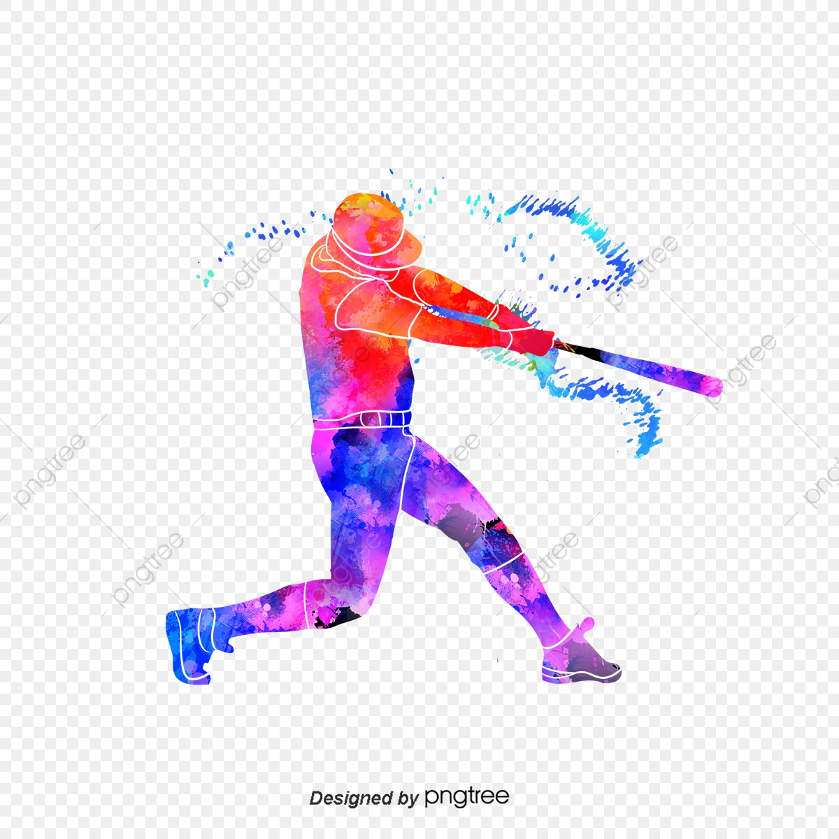 Brilliant Silhouettes Of Creative Baseball Players, Multicolored.