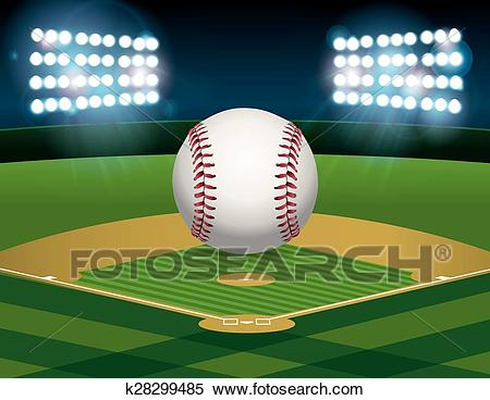 Baseball on Baseball Field Illustration Clipart.