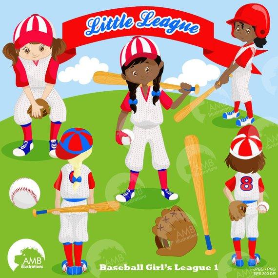 Baseball Team clipart, Baseball Diamond clip art, Girls.