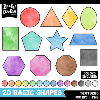 Watercolor 2D Basic Shapes Clipart Set {Zip.
