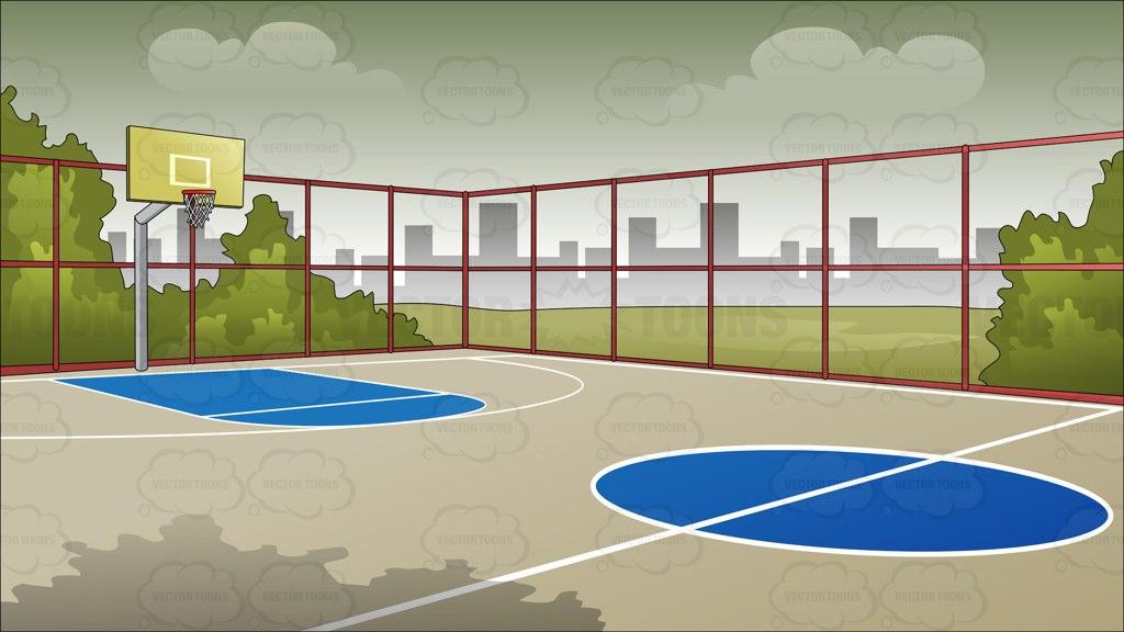 Outdoor Basketball Court Clipart.