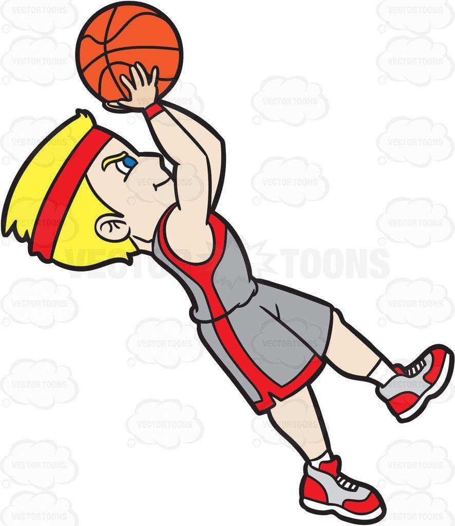 A Male Basketball Player Doing A Fade Away Shot #cartoon #clipart.