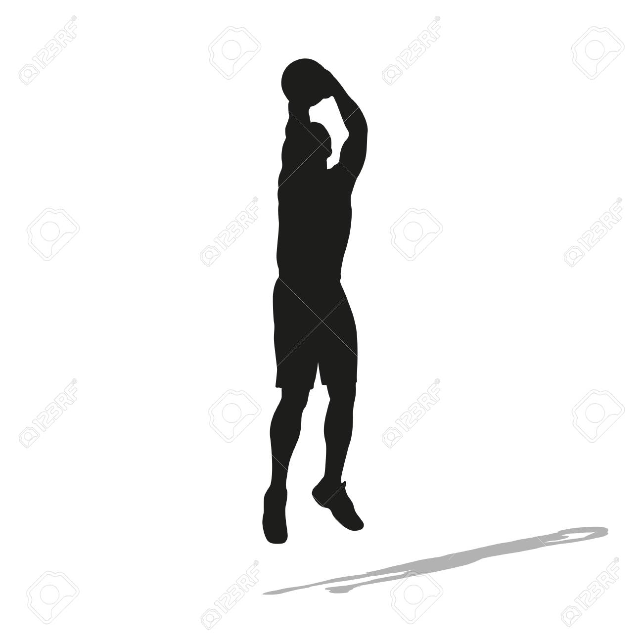 Shooting basketball player vector silhouette. Front view.