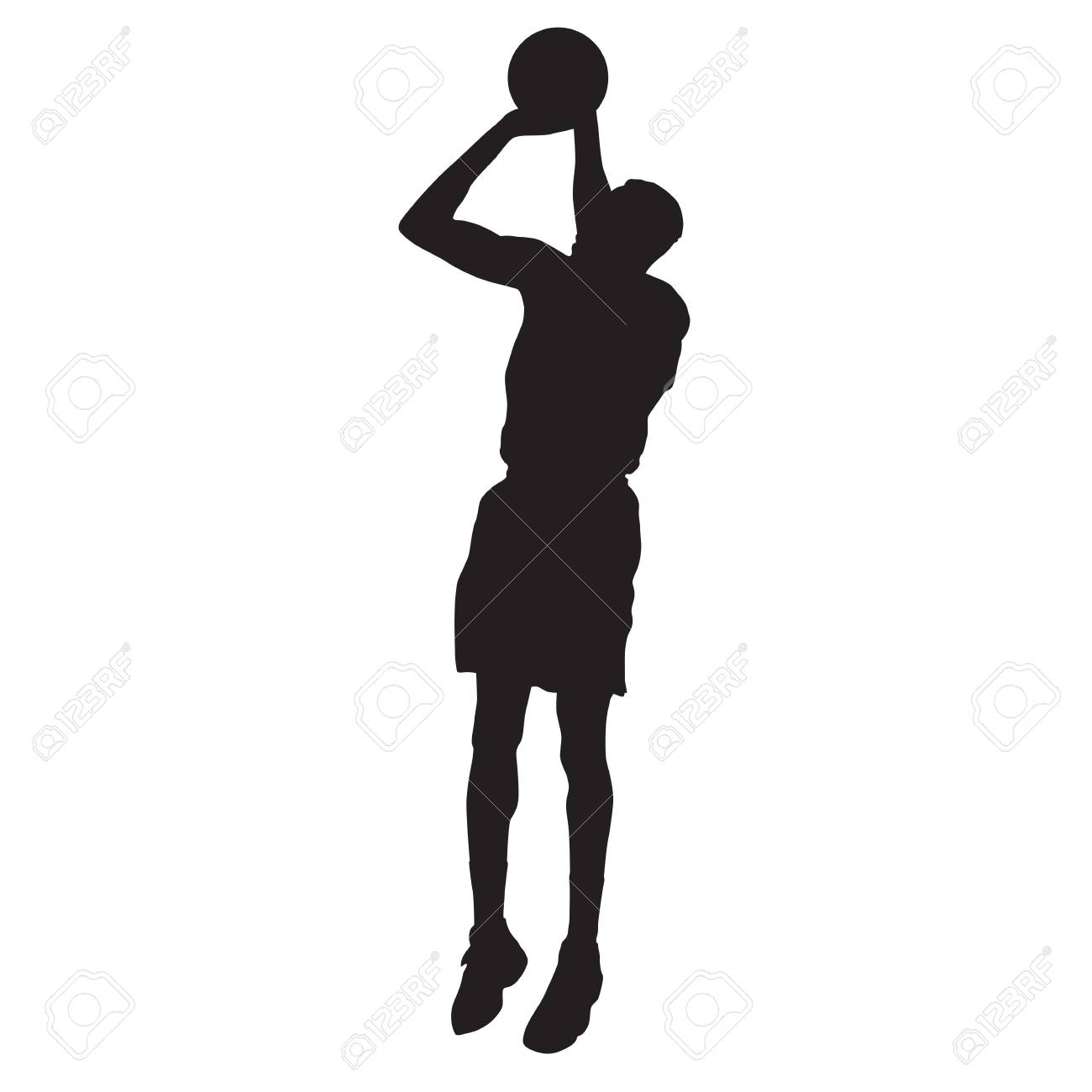 Basketball player jumping and shooting. Vector silhouette.