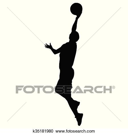 Shooting basketball player, vector silhouette Clipart.