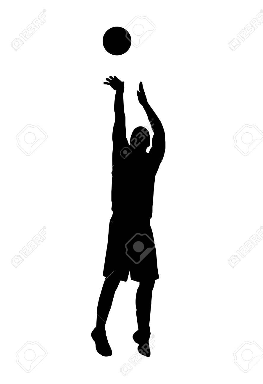 vector of silhouette basketball player shooting the ball.