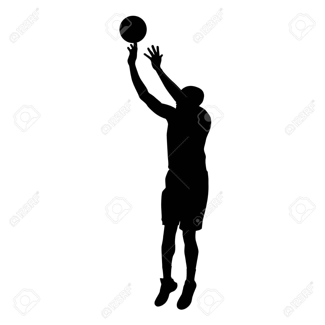 Basketball player makes jump shot, vector silhouette.