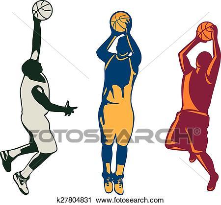 Basketball Player Shooting Retro Collection Clipart.