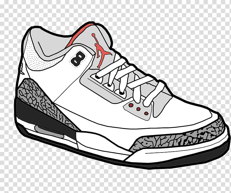 Unpaired white Air Jordan 3 basketball shoe illustration.