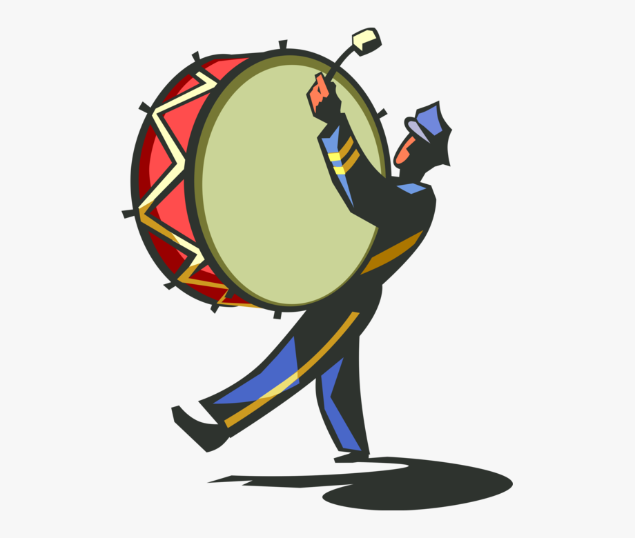 Drummer With Vector Image Illustration Of Bass.