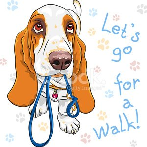 vector baby dog Basset Hound breed Clipart Image.
