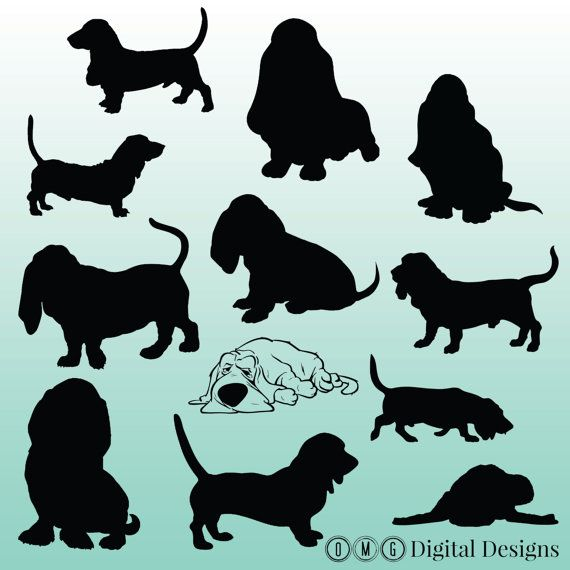 12 Basset Hound Silhouette Images Digital by.
