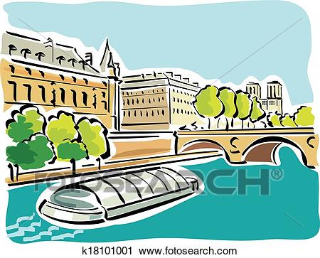 Paris (Bateaux Mouches) Clipart.