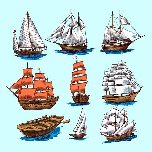 Ensemble de croquis de navires et bateaux.