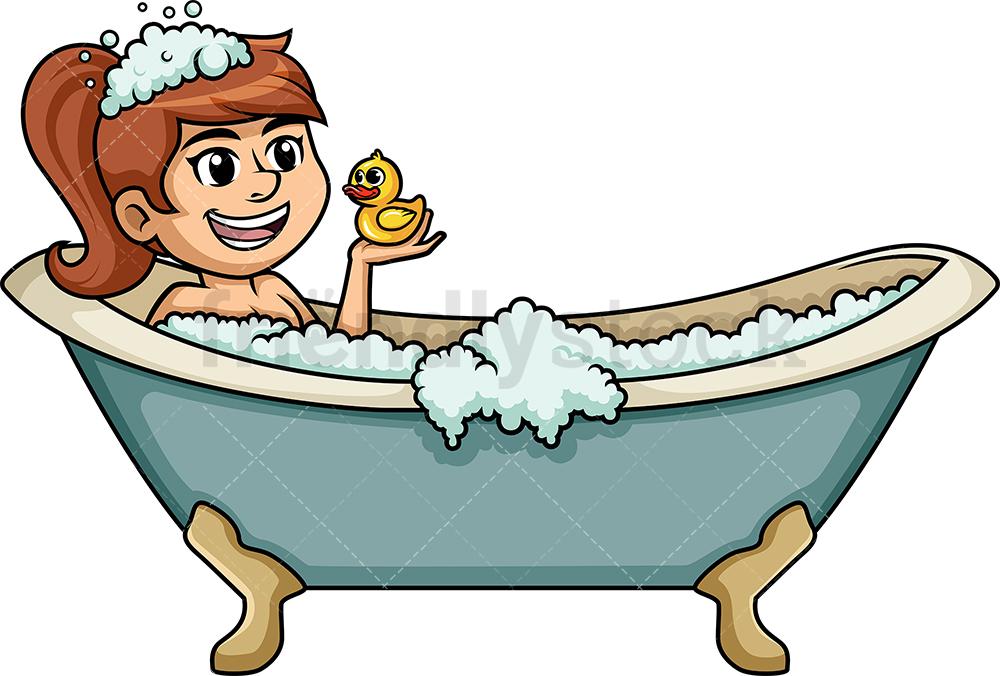 Caucasian Woman In Bathtub.