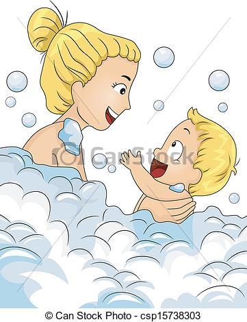 Vector Clipart of Bubble Bath Time.