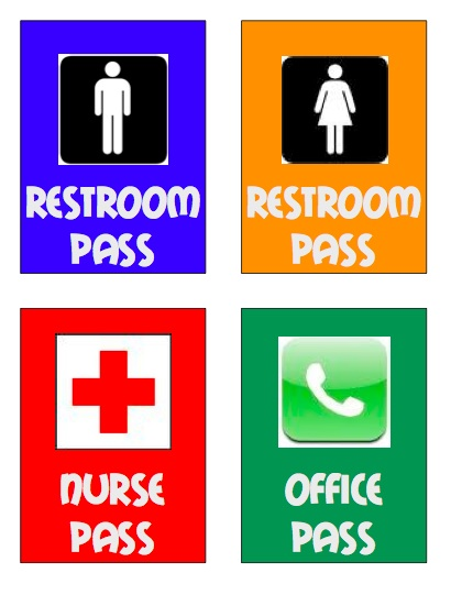 School Bathroom Pass Clipart.