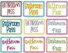 Bathroom Pass Template.