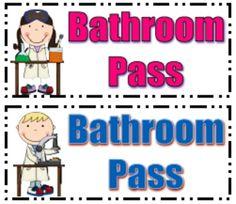 Restroom Pass Clipart.