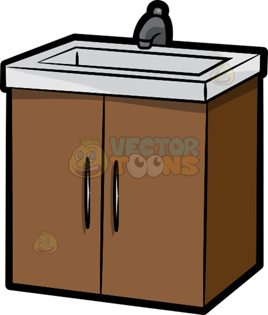 A Bathroom Sink With Cabinets Cartoon Clipart.
