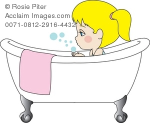 Royalty Free Clipart Illustration of a Little Girl Taking a Bath.