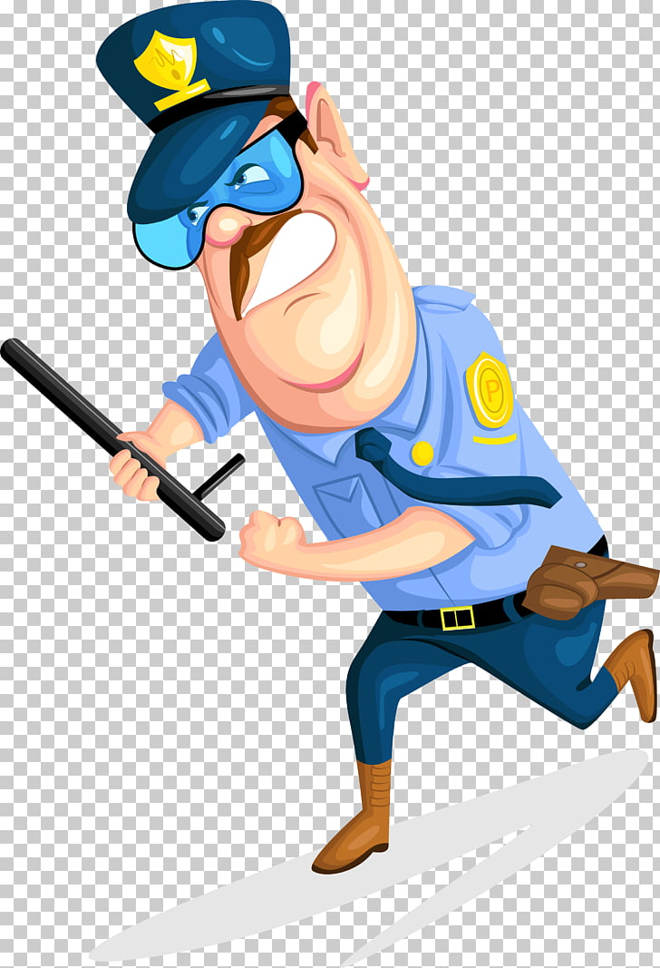Cartoon Security guard Police officer, Batons, security.
